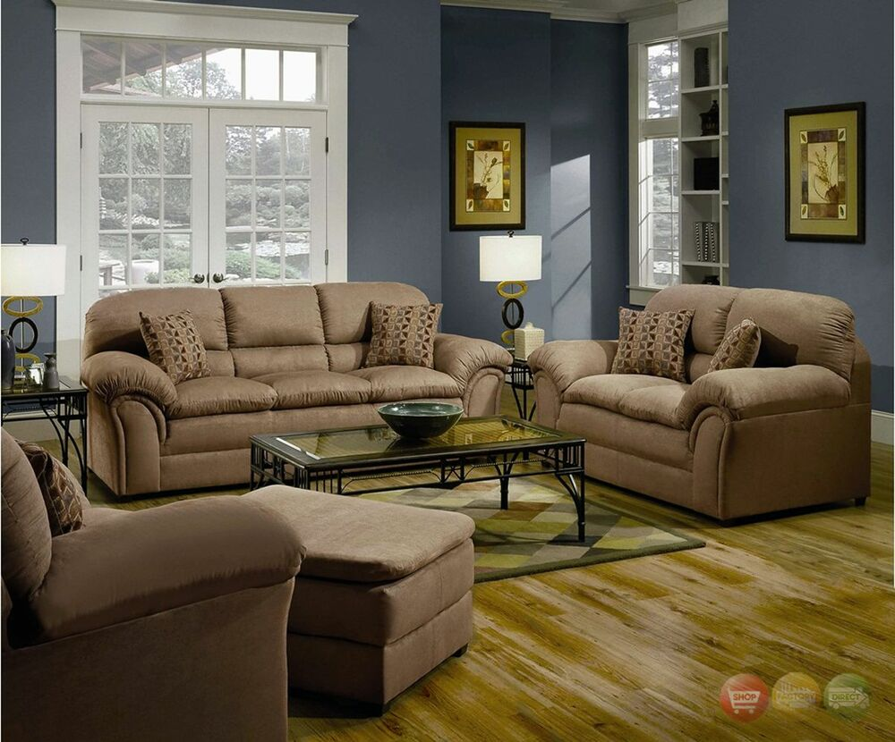 Chickasaw tan casual soft microfiber sofa love seat - Microfiber living room furniture sets ...