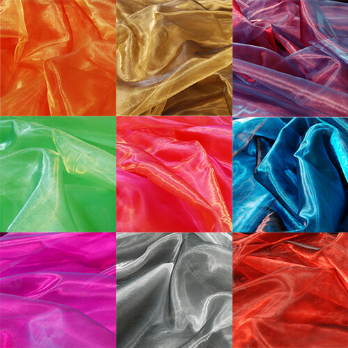 Two Tone Satin Organza Fabric Sheer Voile Per 1m Metre For