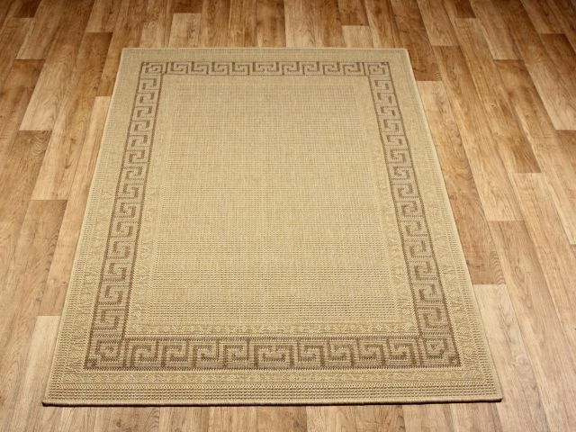 Greek key beige rubber backed non slip kitchen rugs mats for Small rugs for kitchen