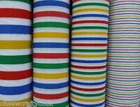 Various Sizes Multi Coloured Stripes Candy On White Polycotton  Fabric (M)