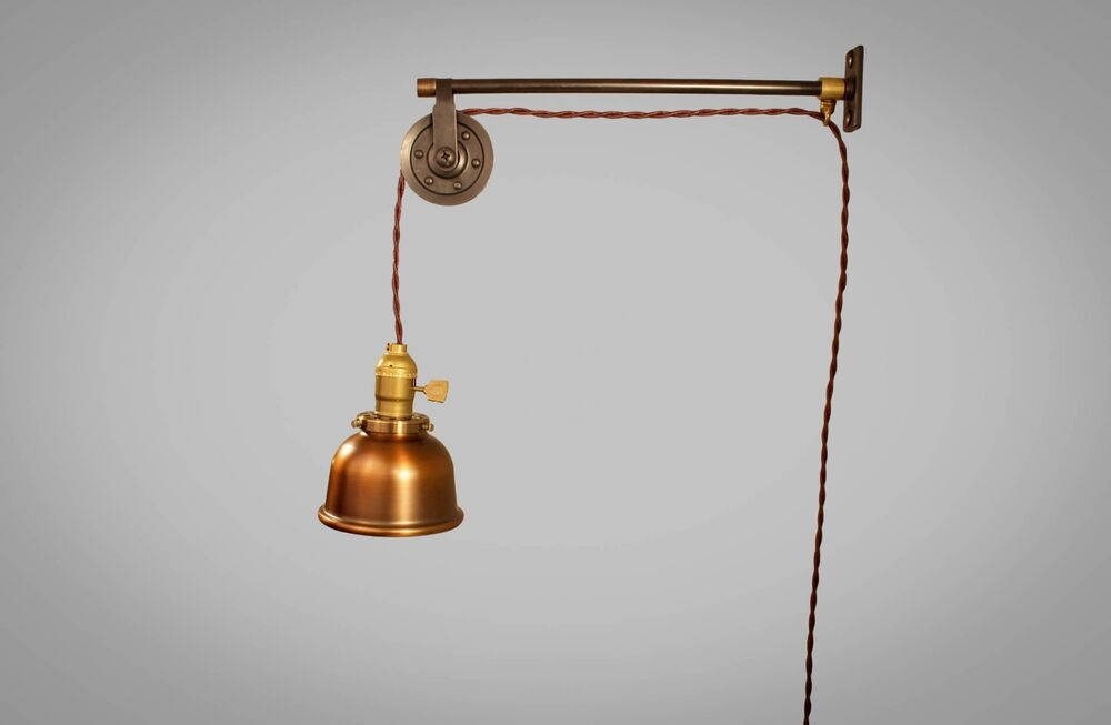 Vintage Industrial Pulley Sconce COPPER SHADE Wall Mount Light Machine