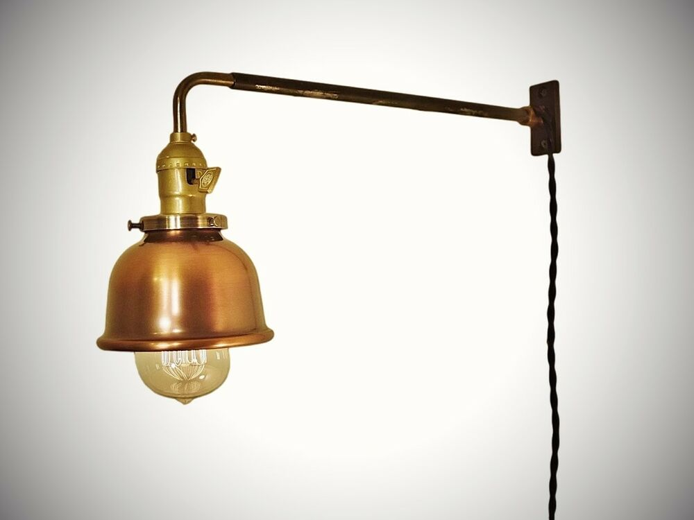 Wall Mount Lamp With Shade : Vintage Industrial Wall Mount Light - COPPER SHADE - Machine Age Lamp Sconce eBay