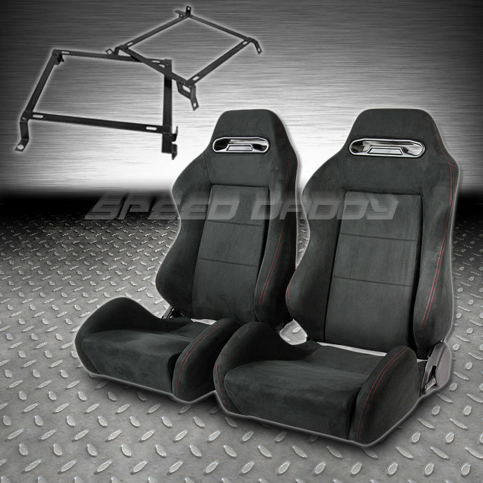 2 X TYPE-R BLACK SUEDE RECLINABLE RACING SEATS+BRACKETS