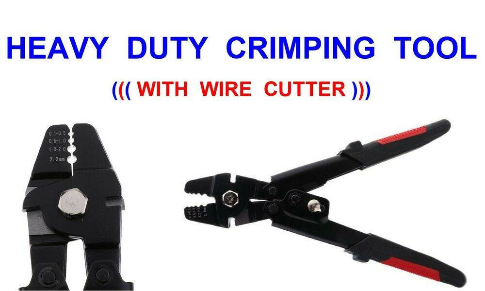Heavy duty crimping tool crimp crimps cutting pliers sea for Fishing crimping tool