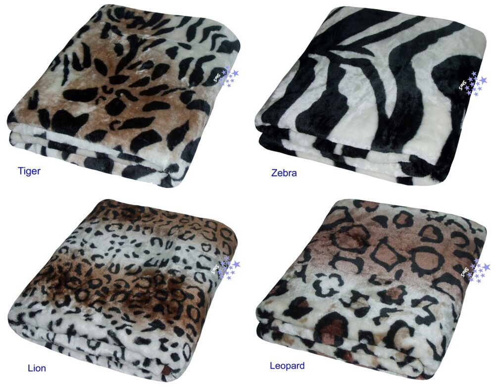 Soft faux animal print mink throw cushion sofa bed blanket for Soft blankets and throws