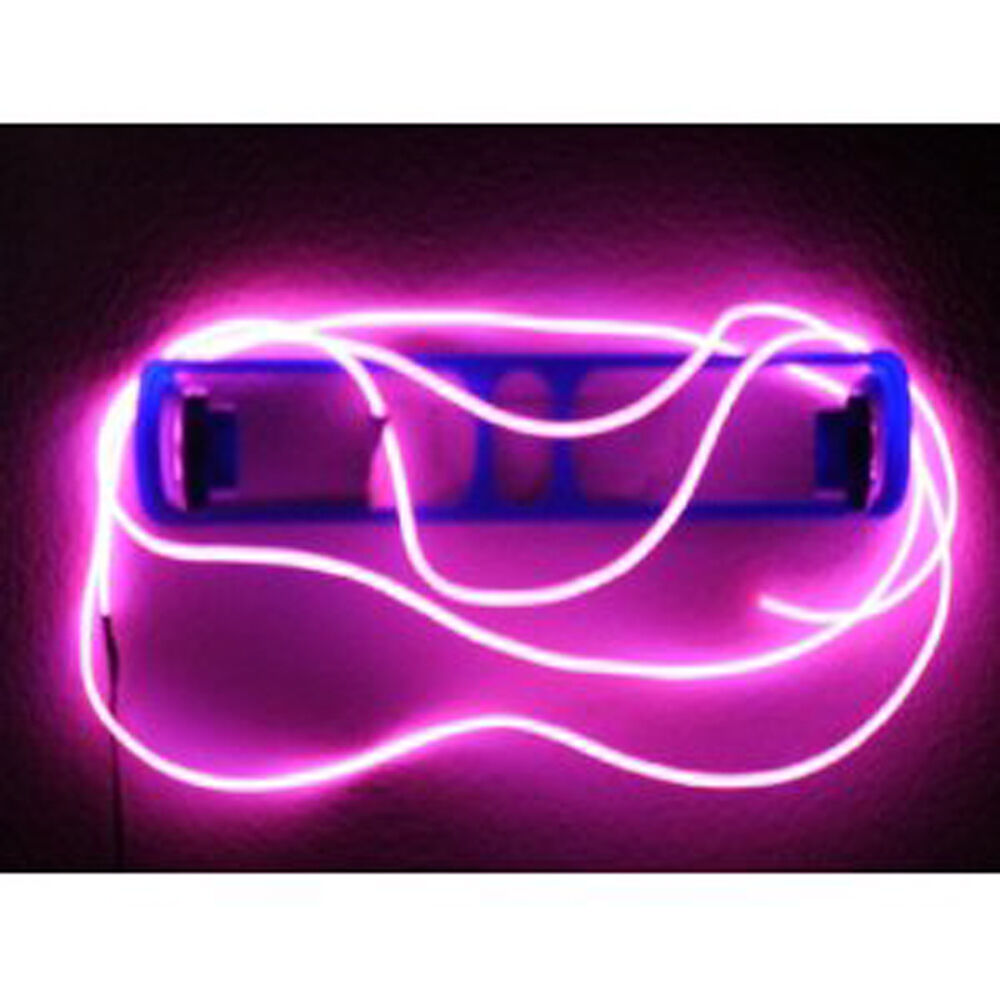 9ft flexible neon light glow el wire rope tube car dance party controller pink ebay. Black Bedroom Furniture Sets. Home Design Ideas