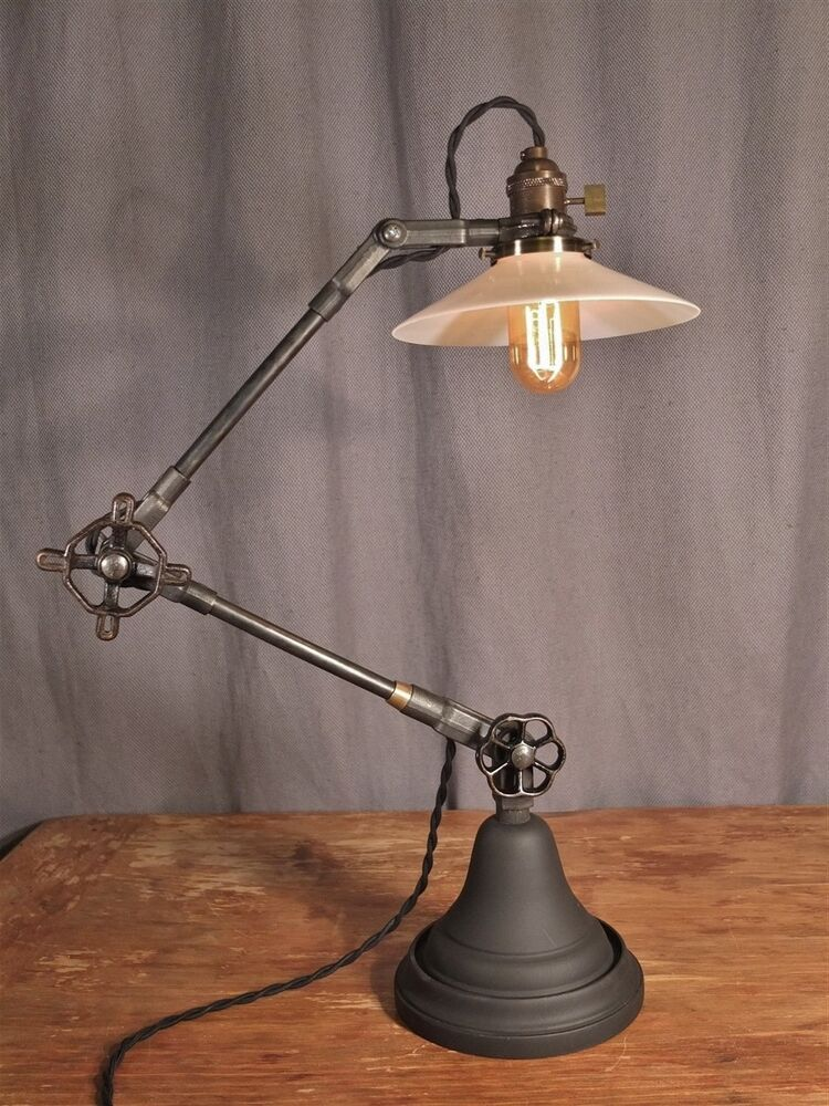 vintage industrial desk lamp machine age task light cast iron