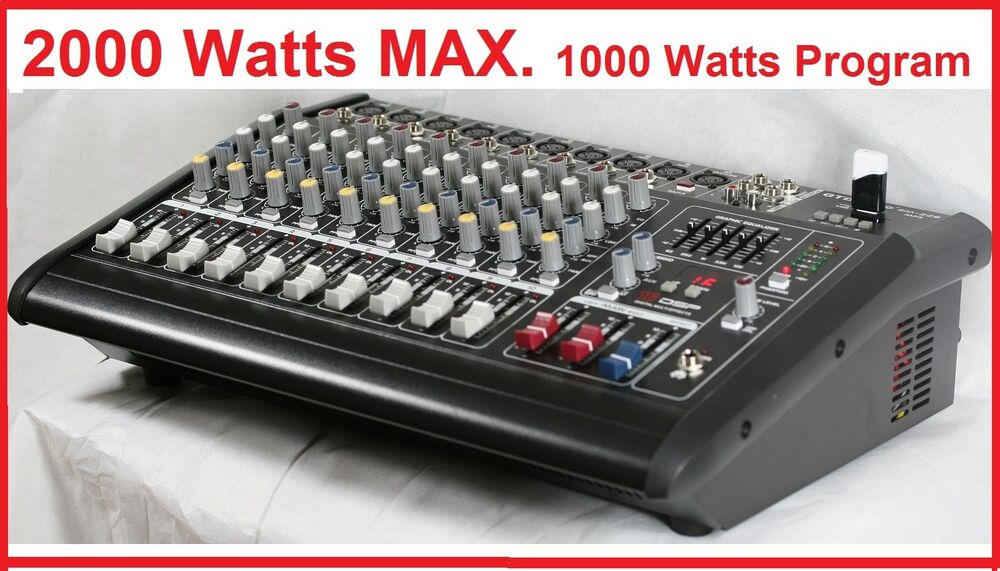 2000watts 10 Channel Professional Powered Mixer Power
