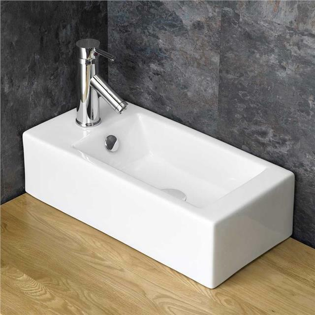 50cm x narrow rectangular bathroom white sink space
