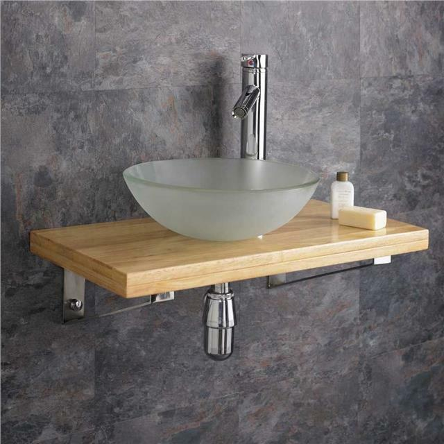 Original 32cm Ceramic Round Bathroom Sink 60cm Wood Shelf Wall Hung Cloakroom