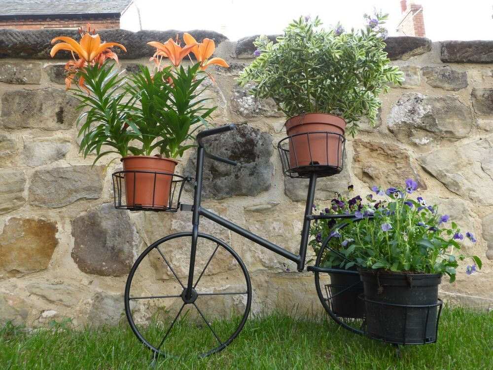 outdoor plant stands black metal bicycle plant stand garden planter to hold 4 11136