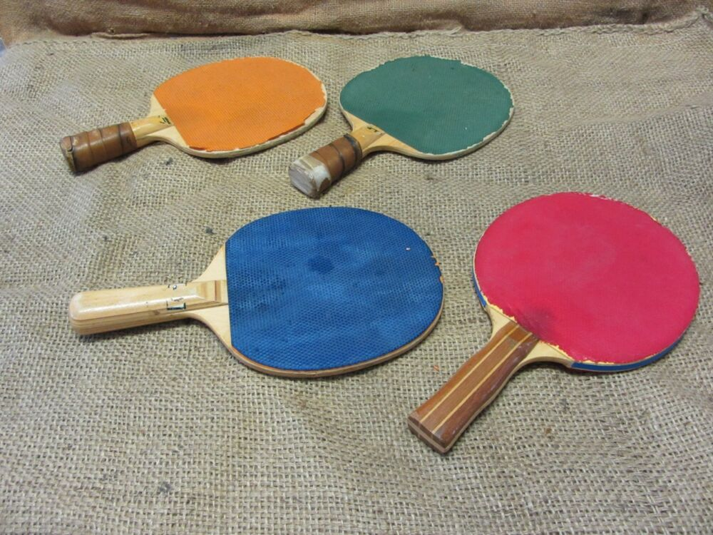 Vintage Ping Pong Paddle Set Of 4 Gt Antique Old Game