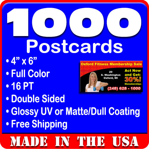 1000 Custom Full Color 4x6 Postcards w/UV Glossy - Real Printing + ...