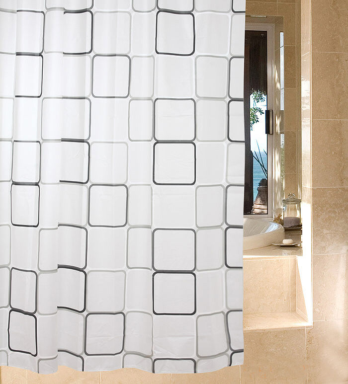 XL LARGE EXTRA LONG WIDE BLACK SILVER WHITE SHOWER CURTAIN 180 200 220 ...