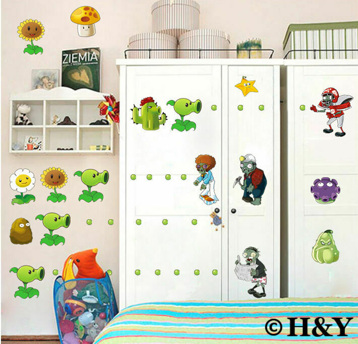 Plants Vs Zombies Removable Wall Stickers Vinyl Nursery