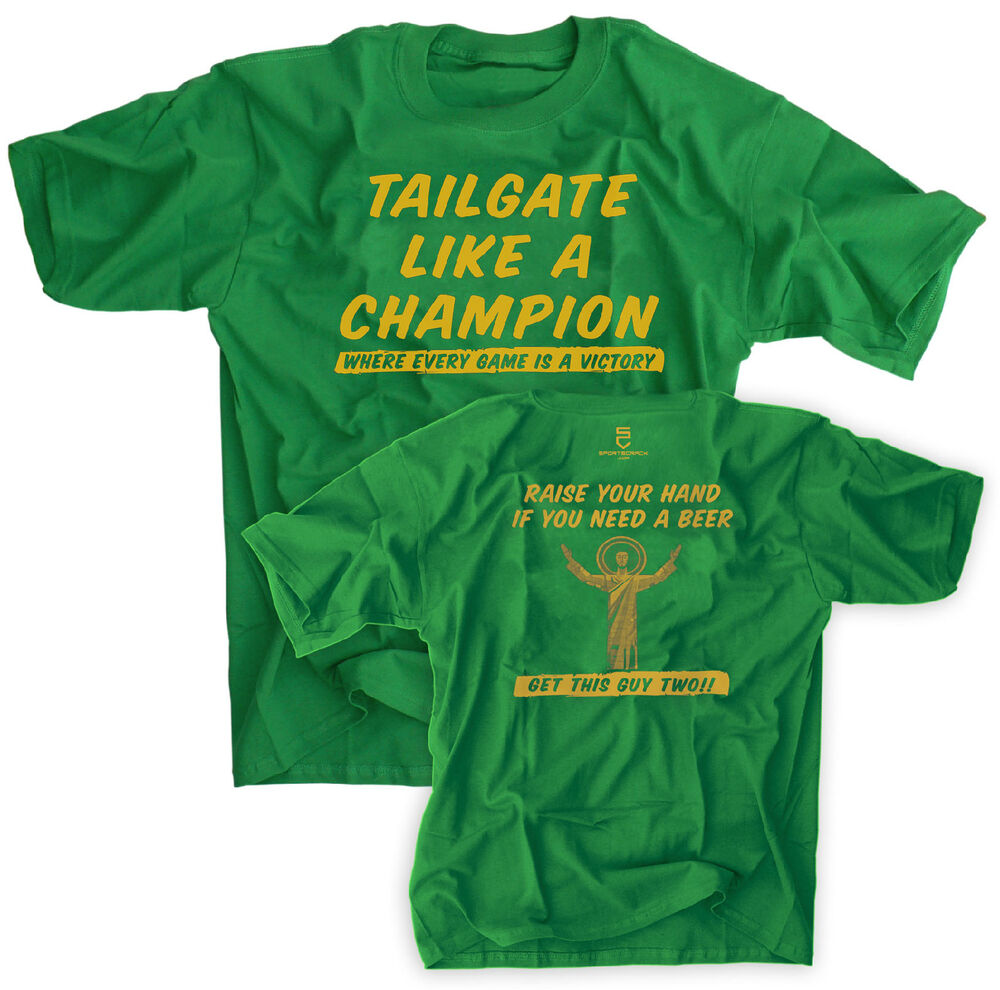 Champion Shirt Green Notre Dame Football Touchdown Jesus Beer Ebay