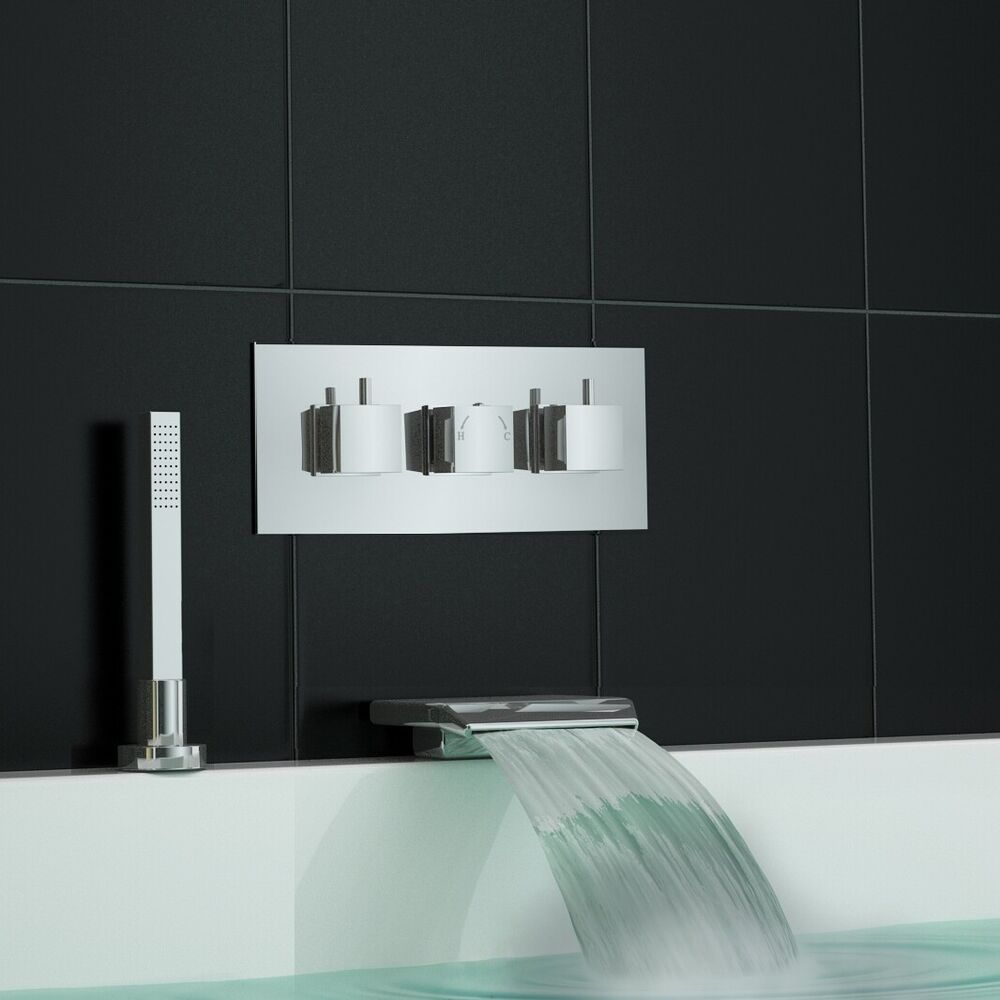 Concealed Thermostatic Shower Mixer Waterfall Bath Filler