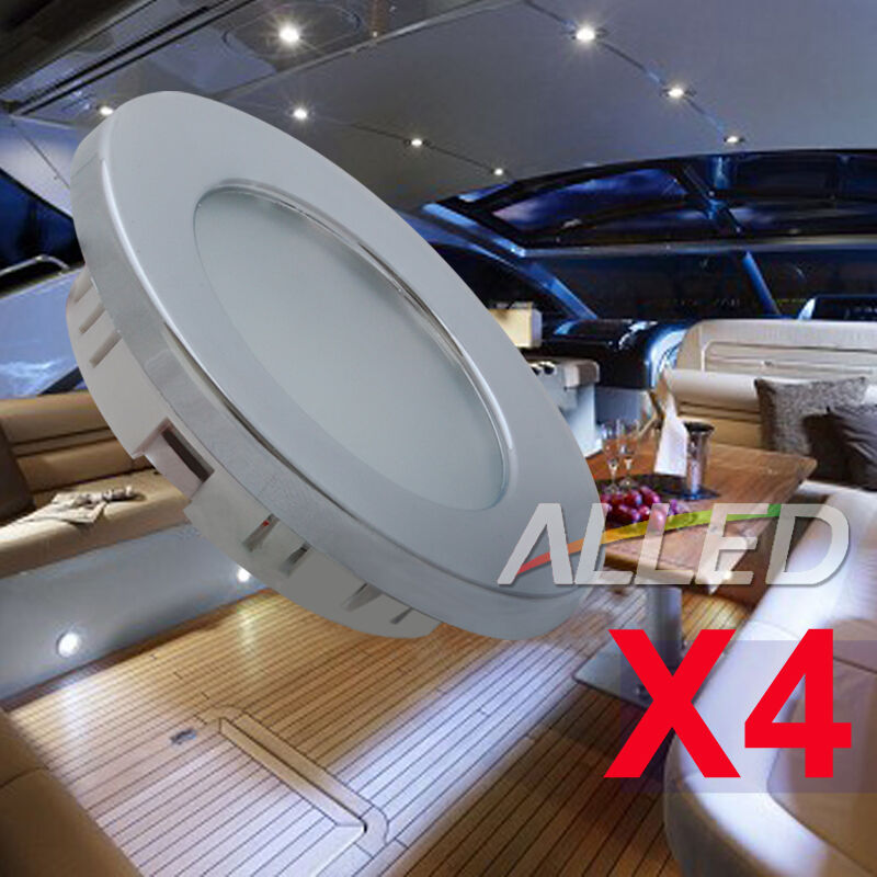 Caravan Interior Wall Lights : 12V 4XLED Cabin Down Light Caravan Roof Ceiling Rangehood Cockpit Interior Lamp eBay