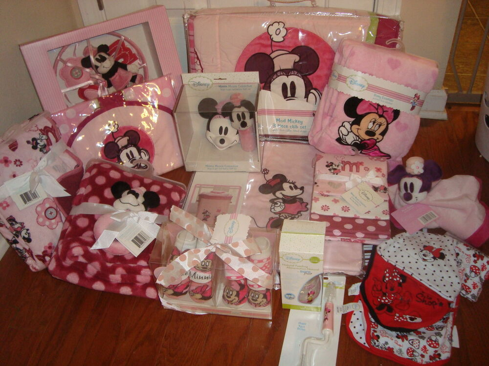 New 28p disney minnie mouse mod girl crib bedding set lot blankets mobile pink ebay - Minnie mouse mobel ...