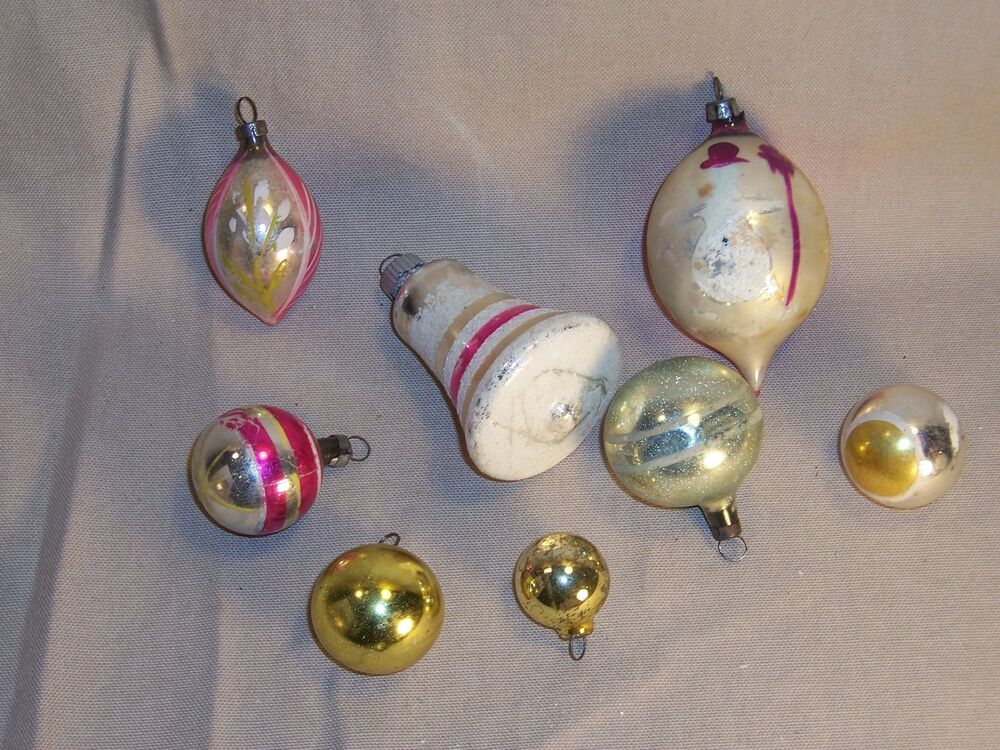 Vintage Antique Glass Christmas Ornaments Lot Ebay