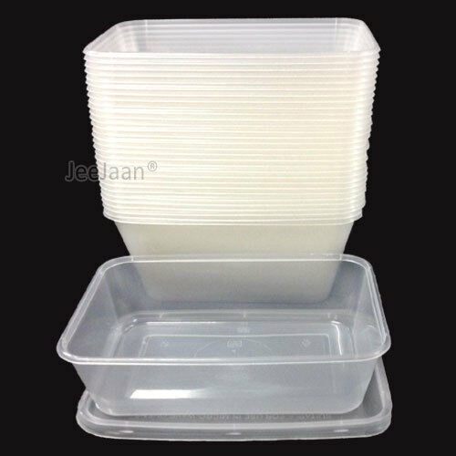 50 Plastic Containers Tubs Clear With Lids Microwave Food