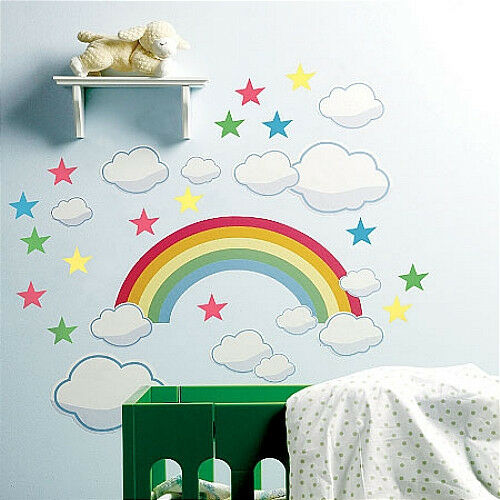 wallies rainbow wall stickers mural 42 decals clouds stars nursery bedroom ebay. Black Bedroom Furniture Sets. Home Design Ideas