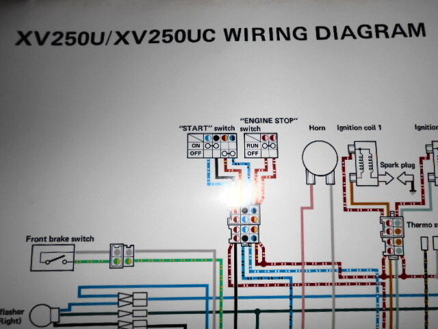 Yamaha Oem Factory Color Wiring Diagram Schematic 1988 Xv250u Xv250 U Uc