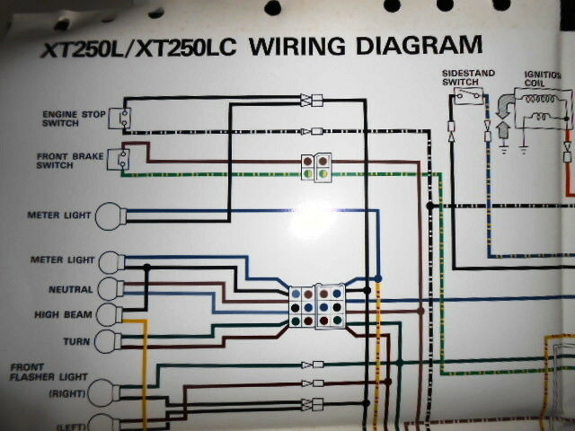 Yamaha Oem Factory Color Wiring Diagram Schematic 1984 Xt250l Xt250lc