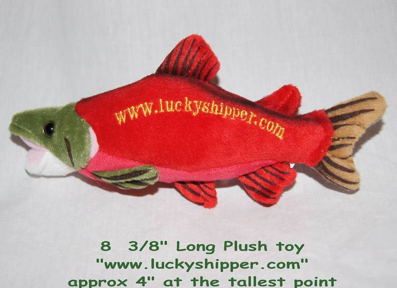 Little plush fish toy red trout sockeye salmon fisherman for Little fish toys