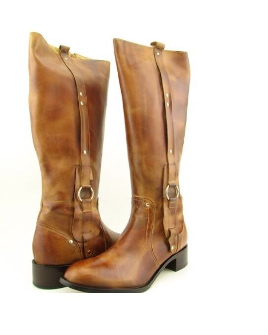 Excellent  Boots Vintage Horse Cowhide Boots Women Riding Boots Med Heel Knee