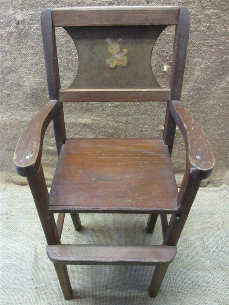 Vintage Wooden Doll High Chair Gt Antique Toy Old Dolly