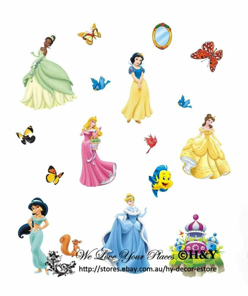 Giant disney princess baby kids wall decor nursery decal for Disney princess wall mural stickers