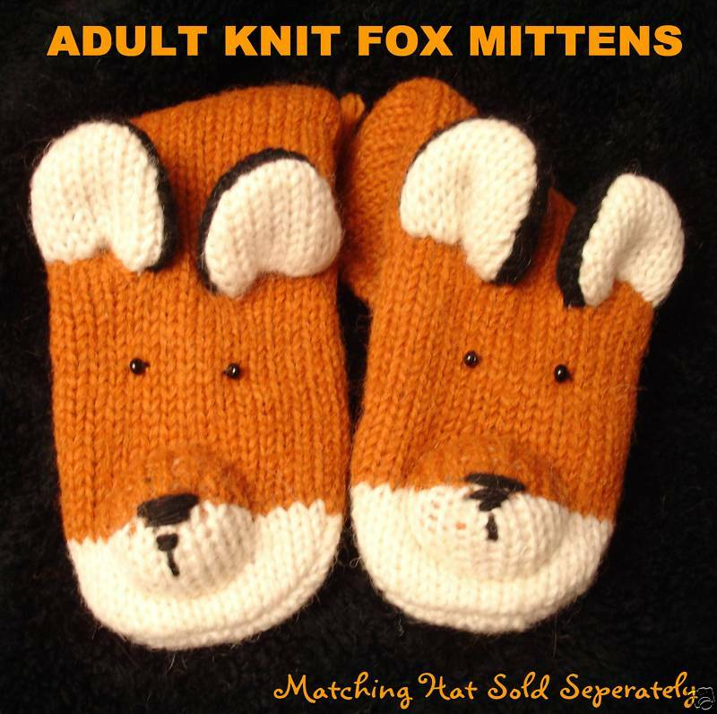 Knitting Pattern For Fox Mittens : FOX MITTENS knit ADULT mens womens HAT SEPARATE hound tod ...