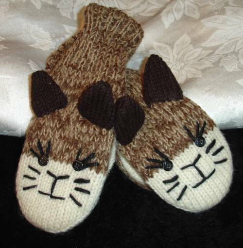 deLux CAT MITTENS stitch face brown ADULT animal knit kitty puppet HAT SEPARA...
