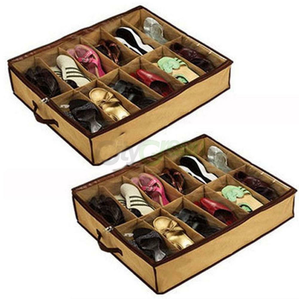 NEW Home 12 Pairs Shoe Organizer Storage Holder Under Bed