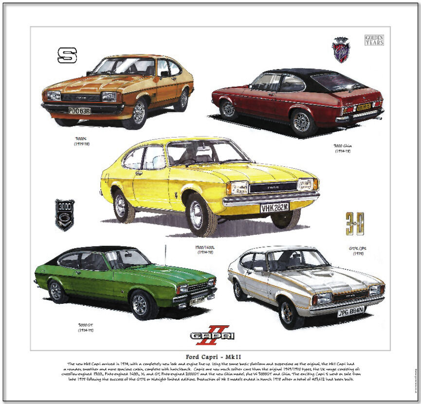 ford capri mkii mk2 fine art print features 1300 1600 l 3000 s ghia gt gt s jps ebay. Black Bedroom Furniture Sets. Home Design Ideas