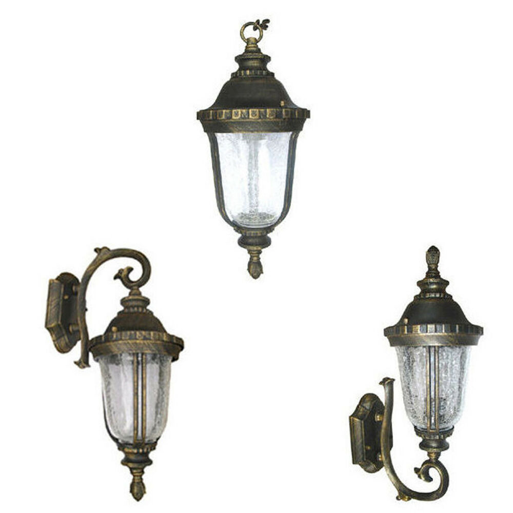 Aluminum Outdoor Exterior Lantern Wall Hanging Lighting Fixture Black Gold eBay