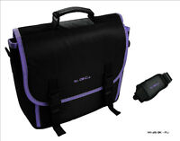 New Black & Purple Trim Messenger Style Carry Case Bag for Portable DVD Players