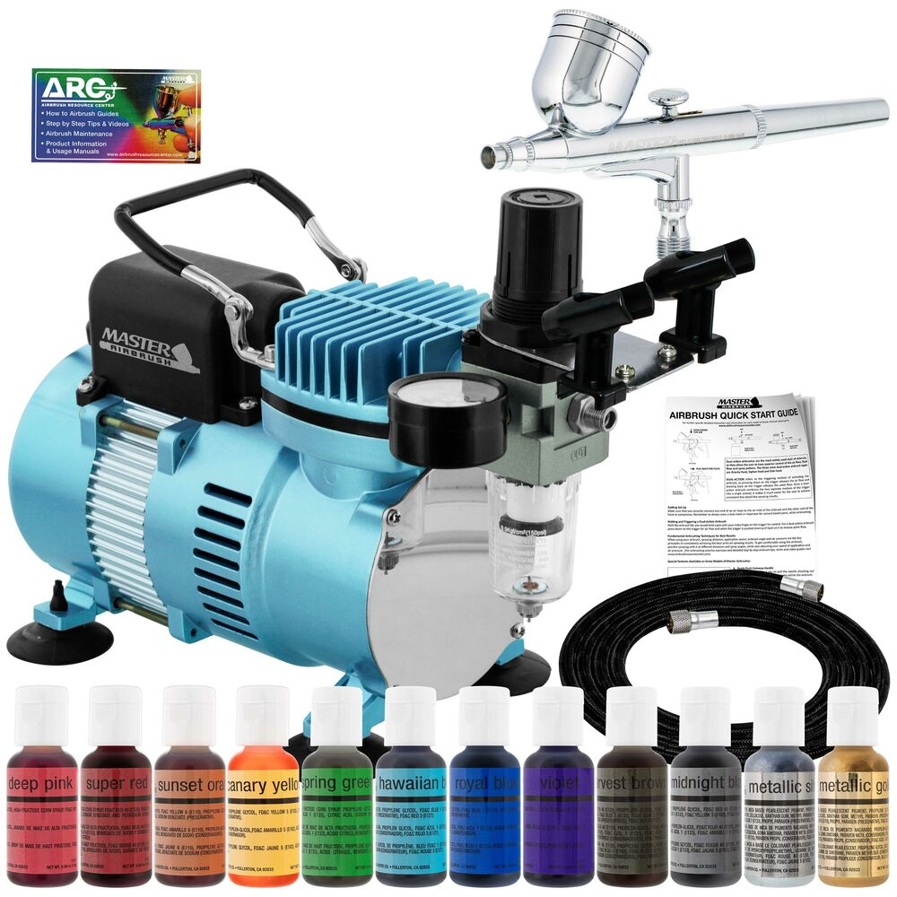 Cake Decorating Airbrush Kit With Compressor Colours And Cleaner : Cake Decorating Airbrush Kit Air Compressor Americolor 12 Color Food Coloring eBay