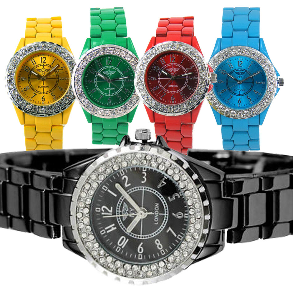 WOMENS LADIES CRYSTAL JEWEL SET METAL STRAP TOY STYLE ...