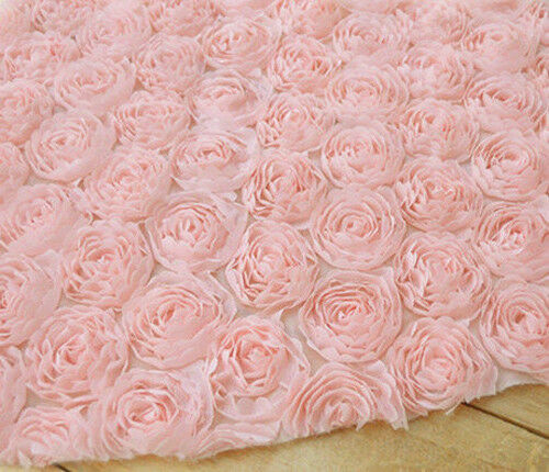 lace fabric pink 3d large rose lace wedding fabric 49 2 39 39 width 1 yard ebay. Black Bedroom Furniture Sets. Home Design Ideas