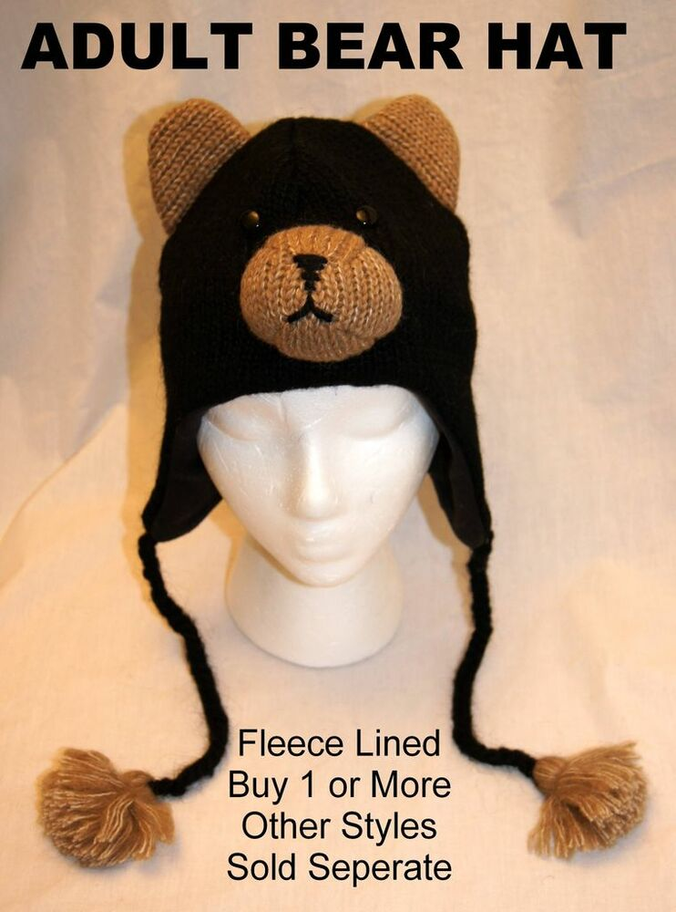 delux black bear hat knit adult toque animal ski cap. Black Bedroom Furniture Sets. Home Design Ideas