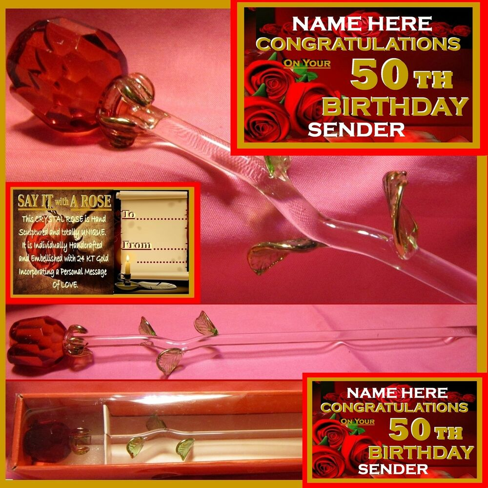 PERSONALISED 50TH BIRTHDAY RED ROSE GLASS CONGRATULATIONS