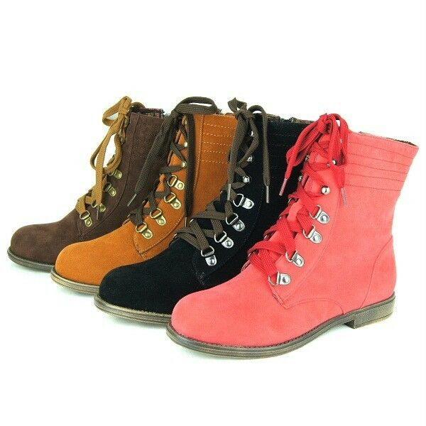 Women S Lace Up Low Heel Ankle Boots Booties Comfort Cosual Combat 5 5 11us Ebay
