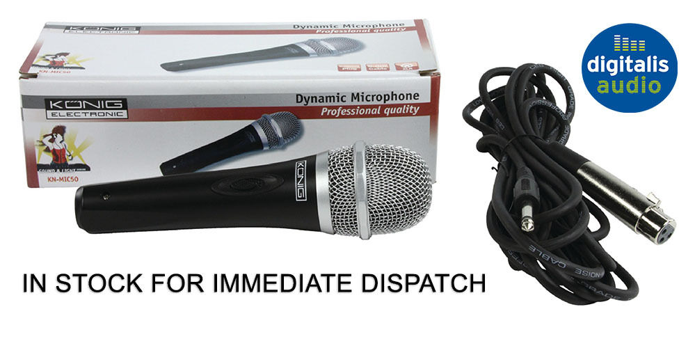 professional uni directional dynamic microphone with 5m xlr lead konig new ebay. Black Bedroom Furniture Sets. Home Design Ideas