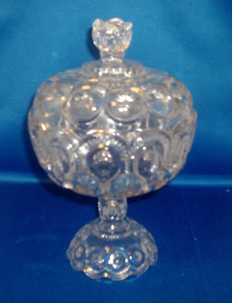Eapg pressed glass footed compote dish and cover candy