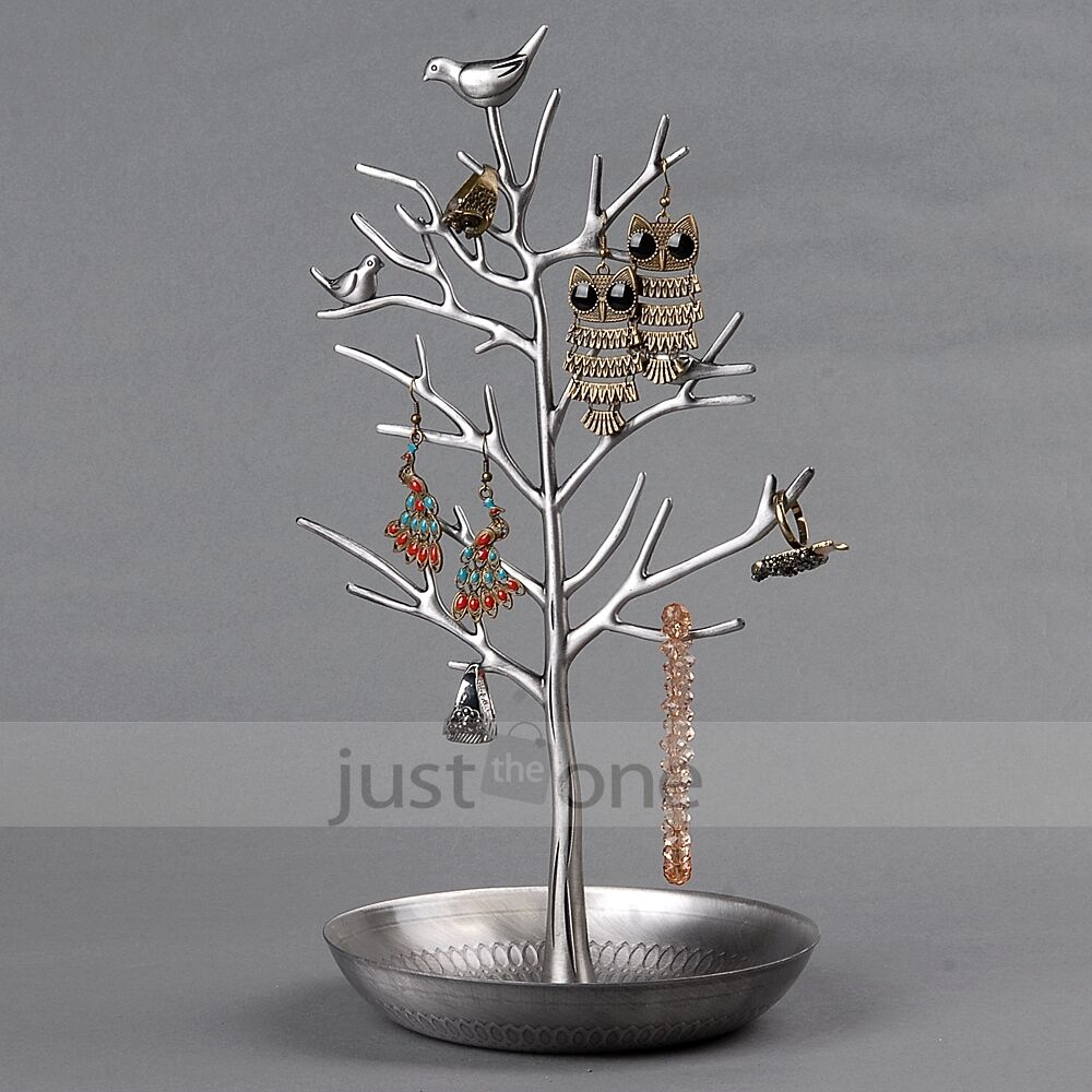 Vintage antique silvery earring jewelry tree stand display for Organiser un stand