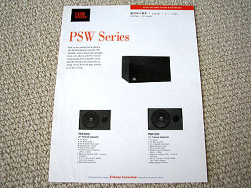 jbl psw1000   psw1200 subwoofer speaker brochure ebay Subwoofer Box jbl psw 1000 service manual