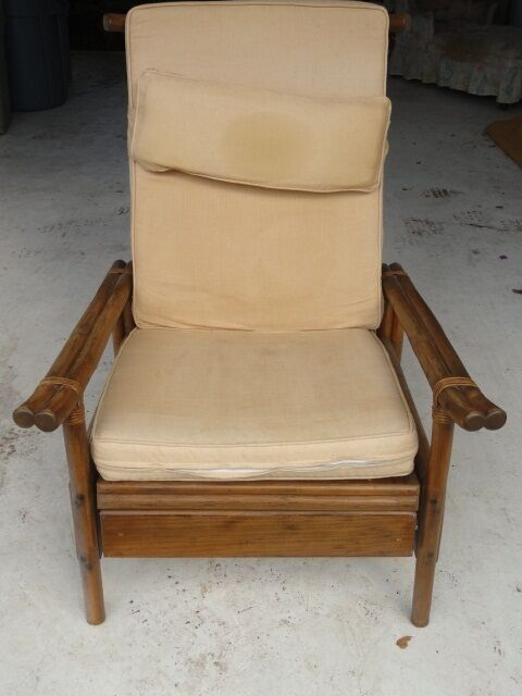 Rare 60 S Ficks Reed Rattan Recliner Club Arm Chair Ebay