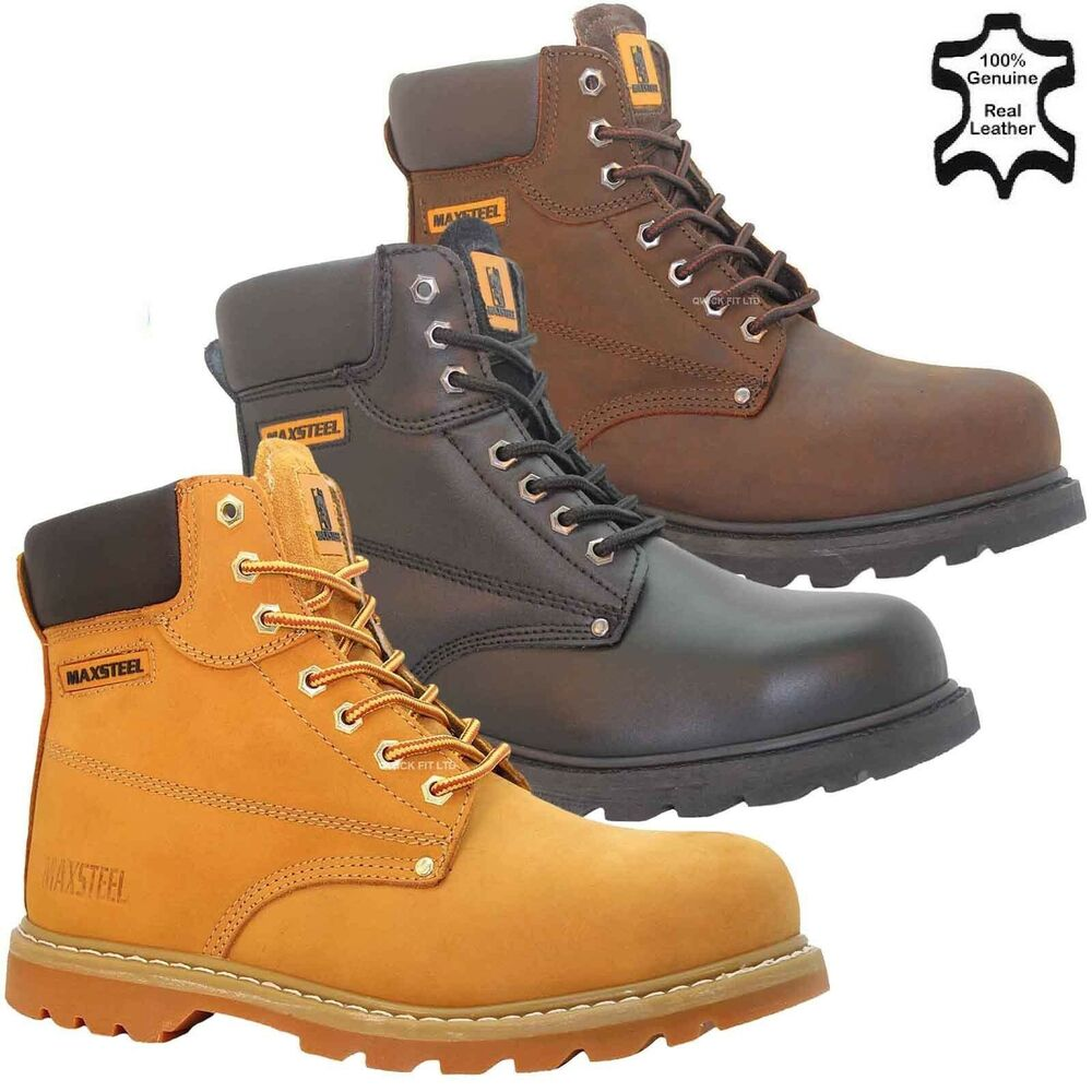 Mens Lace Up Safety Shoes With Steel Toe Cap